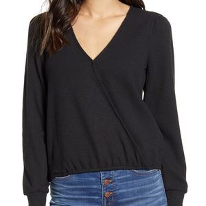 NWT Madewell Puff Sleeve Faux Wrap Top